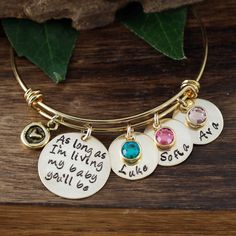 As long as I'm Living my Baby You'll be Gold Bracelet, Custom Bangle Bracelet, Personalized Gift, Mom Charm Bracelet, Personalized Bracelet by AnnieReh on Etsy Baby Bracelet, Gold Bangle Bracelet, Gold Bangles, Personalized Bracelets, Personalized Gifts, Grandma Necklace, Stainless Steel Bracelet, Gifts For Mom, Gift Ideas