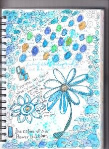 watercolor and colored pencil Art journal page