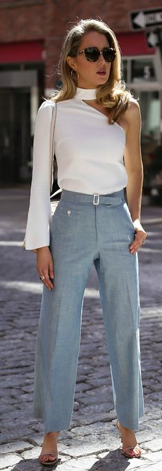 22f9115af7 The perfect change you can bring in this Summer Fashion amp Office  High-waisted light chambray wide leg pants white one-shoulder long sleeve  top square ...