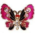 Vintage Enamel & Crystal Butterfly Ring