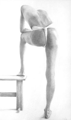 Figure Study - Man with Foot on Stool; pencil drawing 38 x 56 cms.