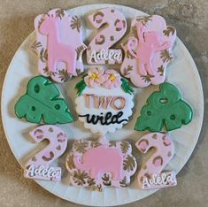 2nd Birthday Party For Girl, Second Birthday Ideas, Safari Birthday Party, Girl Birthday Themes, First Birthday Cookies, Twin First Birthday, Jungle Party, First Birthdays, Safari Theme
