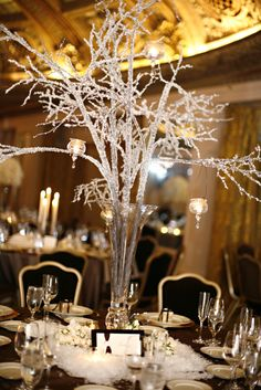 Icicle branch centerpieces.