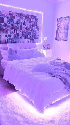 Neon Bedroom, Room Design Bedroom, Girl Bedroom Designs, Room Ideas Bedroom, Bedroom Inspo, Light Pink Bedrooms, Bedroom Decor For Teen Girls, Teen Room Decor, Teen Girl Bedding