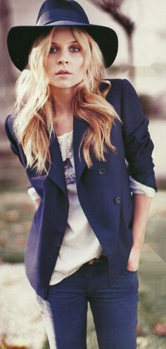 Clémence Poésy in a blazer and t-shirt