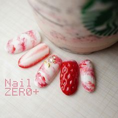 So cute. Strawberry nails