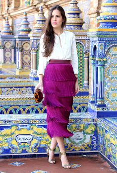 Falda Flecos Buganvilla – Isabel Ogallar Modest Outfits, Skirt Outfits, Classy Outfits, Casual Dresses, Skirt Fashion, Fashion Dresses, Outfit Trends, Western Outfits, Classy Women