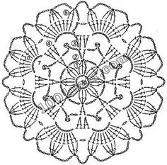 World crochet: Motive 91 Crochet Snowflake Pattern, Crochet Doily Diagram, Crochet Snowflakes, Crochet Flower Patterns, Crochet Chart, Thread Crochet, Crochet Designs, Crochet Flowers, Crochet Circles