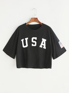 Shop Black Letter Print Drop Shoulder Crop T-shirt online. SheIn offers Black Letter Print Drop Shoulder Crop T-shirt & more to fit your fashionable needs. Teenager Outfits, Outfits For Teens, Trendy Outfits, Girl Outfits, Cute Outfits, Fashion Outfits, Fashion Fashion, Fashion Ideas, Vintage Fashion