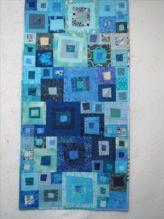 Scrap Quilt in blau, ca. 50x100