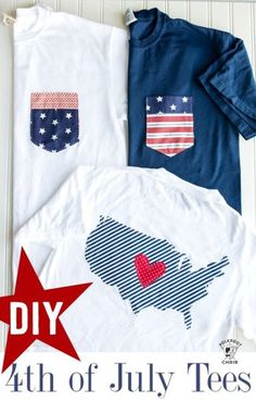 DIY Pocket Tee sewing tutorial for the 4th of July  - includes templates for the pocket and outline of the USA. Great 4th of July Outfit DIY