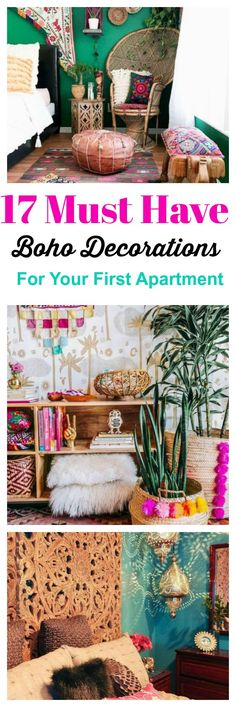 17 bohemian style decorations for your first home or apartment that are easy ways to create instant style. #interiordesign #decorating #homedecor #boho #bohemian #smallspaces #cozyhome