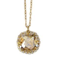 "Catherine Popesco Necklace - 14k Gold Plated Pillow Cut Large Crystal Rhinestone Border Pendant 18"" Necklace, Champagne 4295GN Catherine Popesco http://www.amazon.com/dp/B00GOA0EEW/ref=cm_sw_r_pi_dp_sa5eub1SSHDEE"