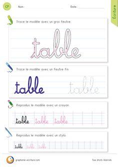 Les gestes pour écrire le mot table avec les minuscules cursives Faire une boucle étrécie qui monte jusqu'au deuxième interligne, pour former la tige du t… continuer avec le rond que l'on ferme avec une étrécie pour obtenir la lettre a… ensuite on dessine une grande boucle qui progresse jusqu'au 3e interligne et qui se termine par un bec joint à une nouvelle boucle de la même taille pour les lettres bl… fqire ensuite la petite boucle du e qui a la taille d'un interligne… puis on ajoute une…