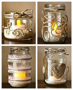 Ideas for some DIY recycled glass jars. LOVE the twine!Ideas for some DIY recycled glass jars. LOVE the twine! Crafts With Glass Jars, Mason Jar Crafts, Bottle Crafts, Mason Jars, Candle Jars, Homemade Candles, Diy Candles, Diy Recycling, Diy Candle Holders