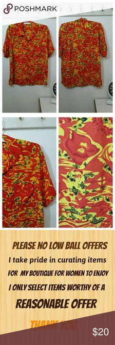 Vintage 80s Hawaiian Men's Shirt Vintage casual Hawaiian Shirt   Short sleeves Button down Fish and boat print Orange and yellow  No label  Large - measurements forthcoming.  Very good condition Shirts Casual Button Down Shirts