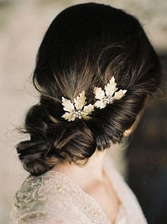 elegant updo wedding hairstyles with gold leaves hair combs