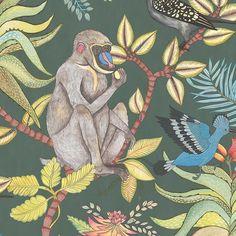 Papier peint Savuti vert de The Ardmore Collection de Cole and Son, une collection de papiers peints aux accents africains avec plein de petits animaux de la savane pour une décoration tropicale et une ambiance jungle.