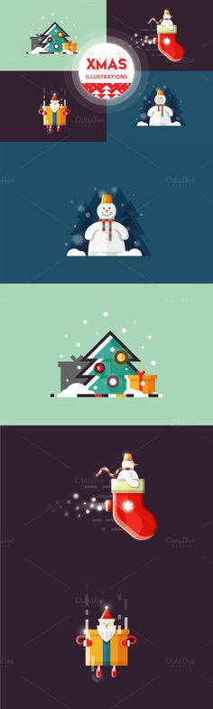 Christmas illustrations by Infographic Paradise on @creativemarket