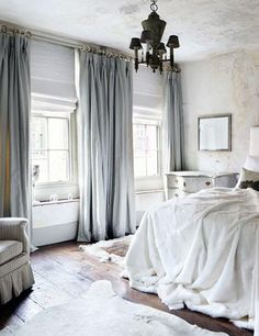 Grey scale curtains on birth sides with windows