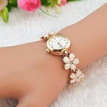 2b29b090d2d Relógio De Pulso Feminino Analógico Estilo Bracelete Floral Aneis