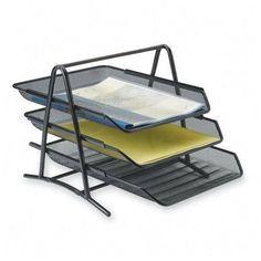 "2 X Sparco 90206 3-Tier Steel Mesh Desk Tray, Black (11 5/8""W x 13 3/4""D x 10 5/8""H)"