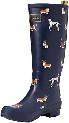 Joules Women's Wellyprint Rain Boot, Navy Dog, 5 M US * You can get additional details at the image link.