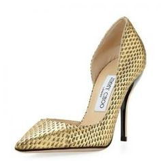 50% off Jimmy Choo - Half DOrsay Pump Snake Embossed Willis Gold - $487.00