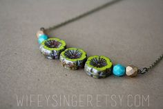 czech glass bead necklace  green flowers with teal by wifeysinger, $26.50