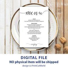 Wedding menu template 5x7 Rustic wedding menu printable Instant downolad…
