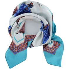 French Silk Scarf La Parisienne Blue - My French Neighbor