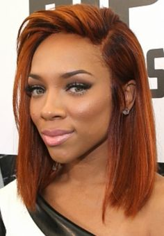 **** LOVE LOVE LOVE HER HAIR COLOR!!! Love the cut!! This whole style is everything! Find a wig or get a weave done like this to see if I like the color. www.sishair.com info@sishair.com Hair Style. Blunt cut