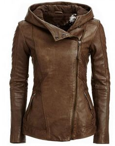 Stylish Hooded Long Sleeve Solid Color PU Jacket For Women