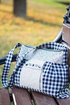 White blue checked linen shoulder bag handbag by SomBags on Etsy