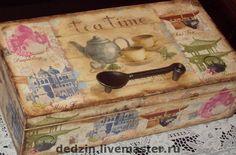 Коробка `Чайная коллекция`.. Декупаж. Большая коробка для большой коллекции чая. Украшена ручкой-ложкой под старину. Очень красивая.  Средняя коробка  для коллекции чая поменьше.    Использованы безопасные материалы на водной основе.