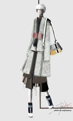 Coat of raw wool felted and treated (mink details) | Stefania Belmonte | fashion design