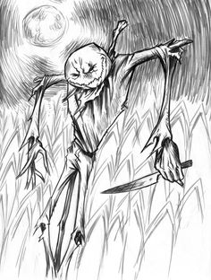 scary drawings   Scary scarecrow by seanwthornton