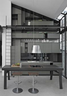 modern grey kitchenDesign and implementation of luxury interior acoustic solutions / Scandinavian Interior Design / jp@bedreakustik.dk / www.bedreakustik.dk