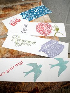 I made these to be used as bookmarks, tags or stationary gift set.