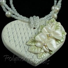 Polymer clay necklace tutorial, polymer clay flowers tutorial, miniature sculpted orchids, Faux Porcelain Heart Necklace with Sculpted Orchids, Step-by-Step Tutorial