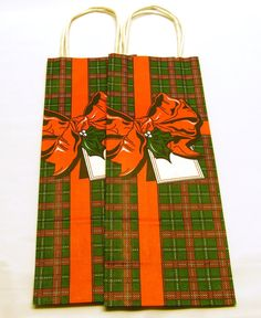 Vintage Holiday Gift Bags - Red Green Plaid 5-1/4 x 13-1/2 x 3-1/2 inches