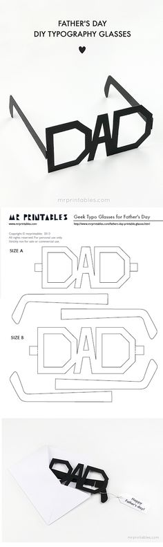 DIY Father's Day Cards {The Best FREE Printable Paper Crafts just for DAD!} Fathers Day Cards FREE Printables - DIY Typography Glasses Paper Craft via Mr Printables - Print them in whatever color you want Mr Printables, Father's Day Printable, Printable Paper, Printable Crafts, Fathers Day Crafts, Happy Fathers Day, Fathers Day Banner, Fathers Day Art, Funny Fathers Day Gifts
