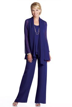 Brides: Capri by Mon Cheri. Three-piece chiffon pant suit, sleeveless tank bodice features double layered waistline trimmed with hand-beading. Pants feature elastic waistband and back zipper, matching jacket with long sleeves and beaded trim.