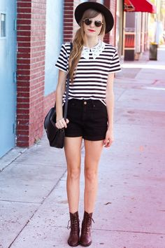 Steffy in simple #black and #white #stripes.