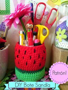 DIY crochet crochet jar sandia bote crochet