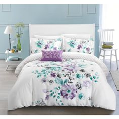 Chic Home Mitzy 4 Piece Reversible Duvet Cover Set Cotton Large Floral Design Geometric Scale Pattern Print Zipper Closure Bedding - Decorative Pillow Shams Included, Queen Lavender, Purple King Duvet Cover Sets, Queen Comforter Sets, Queen Duvet, Bedding Sets, Duvet Covers, Chic Bedding, Lavender Comforter, Luxury Bedding, Bedroom Decor