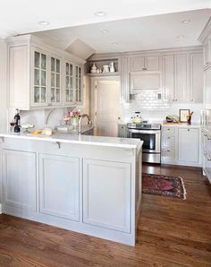 Pinetree kitchen renovation, Atlanta. TerraCotta Properties, pretty cabinet color
