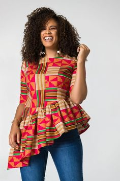 ankara mode Ankara Blouses made with pure wax available in all different sizes in my shop. You can also place your body measurements and we'll make your size right away. African Fashion Ankara, Latest African Fashion Dresses, African Dresses For Women, African Print Fashion, Africa Fashion, African Attire, African Tops For Women, Fancy Tops, Fashion Looks
