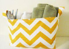 Chevron Storage Basket Organizer in Premier Prints Yellow Slub and White Zig Zag - Great Gift. $18.00, via Etsy.