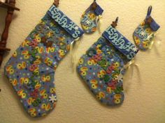 DUCKY CHRISTMAS STOCKINGS AND MATCHING DUCKY  JOY CHRISTMAS TREE ORNAMENTS OR GIFT TAGS ~ ONE SET FOR THE BABY/ PROUD PARENTS AND ONE SET FOR THE PROUD GRANDPARENTS!!!